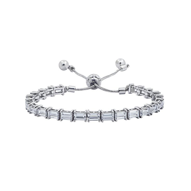 This beautiful friendship bracelet features intricately cut baguette stones and a sliding clasp that makes the bracelet adjustable.
