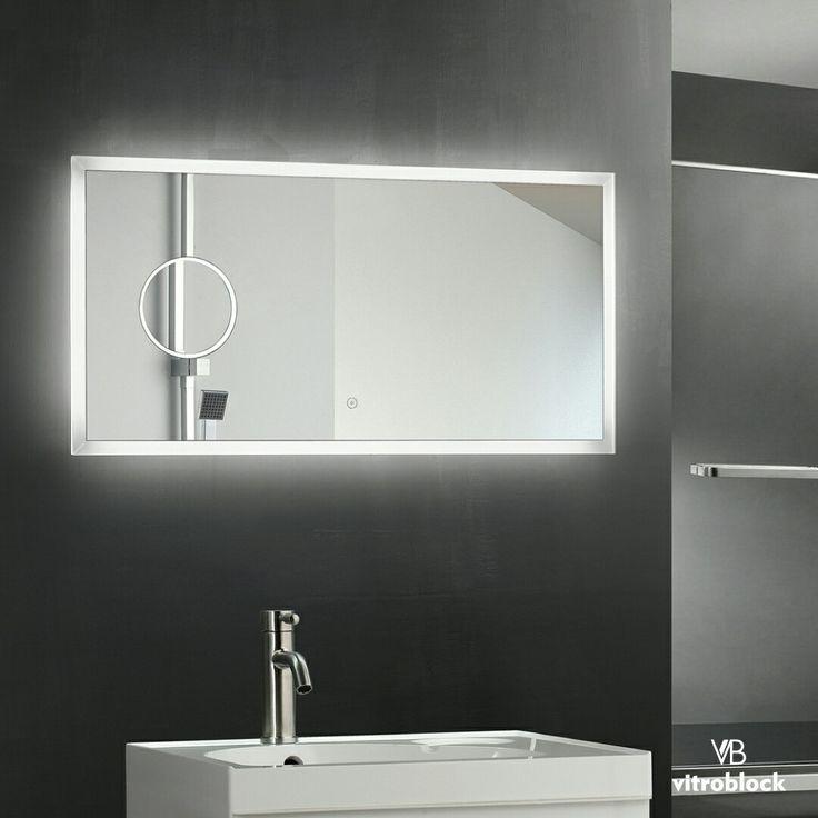 ESPEJO LED TIONESTA Iluminación Led | Desempañador | Timer | Zoom . Medidas disponibles:  🔸100 x 50 x 4,5 cm. . . #Vitroblock #Espejos #EspejosLed #Led #Decoración #Decohogar #Toilette #Baños