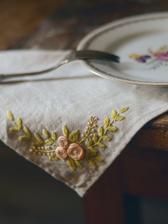 A hand embroidered table napkin made with love for your home!  DETAILS:  •All embroidery items are delivered gift wrapped! •Size is 31x31 cm or 12x12 inches. •Hand stitched with high quality threads of 100% cotton on grey natural linen fabric.  ⓘ If you have any questions and concerns, please always feel free to contact me!  ❤ Dont forget to Favorite to find this listing later!  Thank you! ............................................... Follow us on Instagram and Twitter: https://ww...