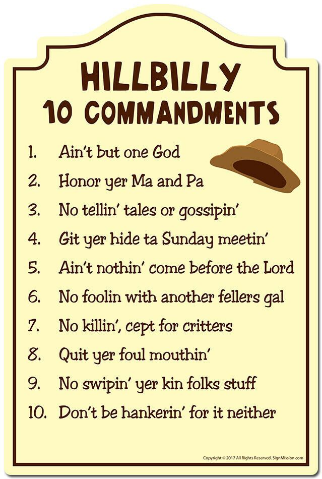 Hillbilly 10 Commandments Novelty Sign Indoor Outdoor Funny Home Decor For Garages Living Rooms Bedroom Office Funny Home Decor Funny Signs Novelty Sign