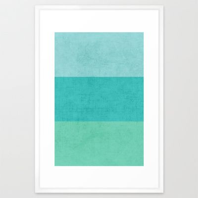 "three stripes - teal Framed Art Print 26""x38"""