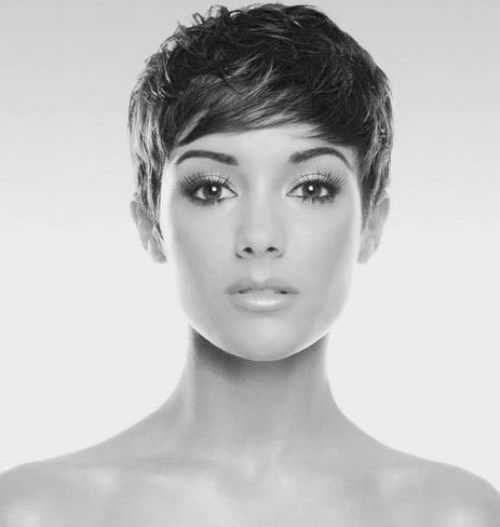 %0A                                    Sleek and Neat Short Pixie Hairstyles 2014 with Sleek Side Swept Bangs
