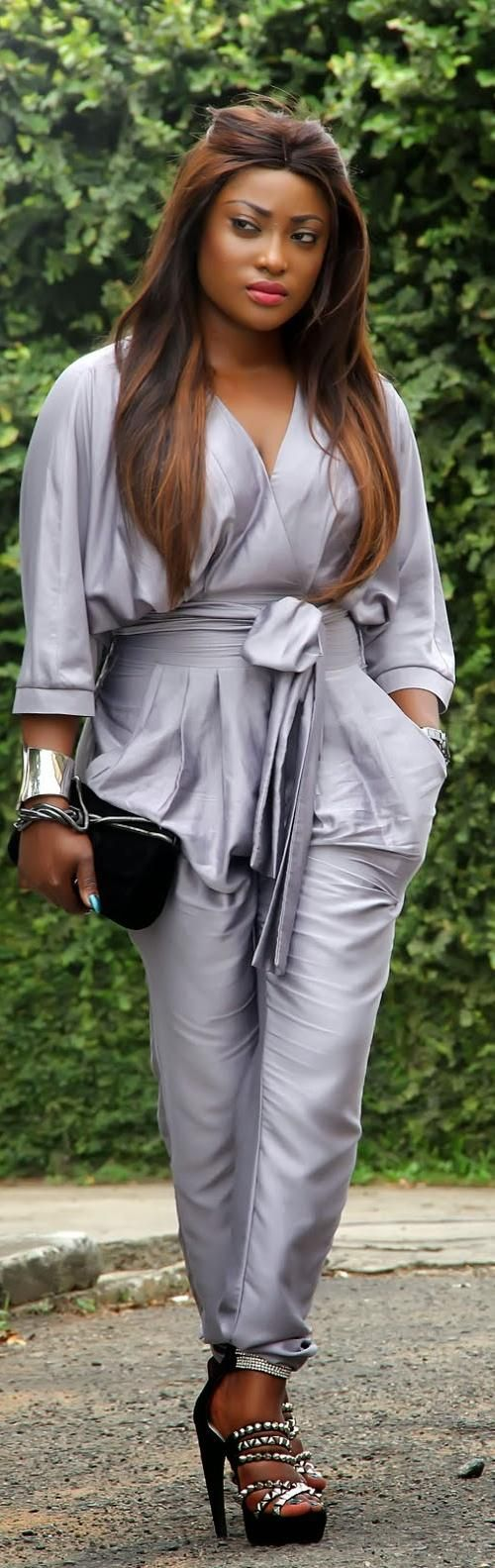 silver metallic plus size wrap top jumpsuit #UNIQUE_WOMENS_FASHION: