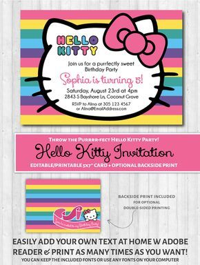 Plan the purrrr-fect Hello Kitty party with these printable invitations! SEE MATCHING PARTY DECOR PACK HERE HOW IT WORKS: 1. Purchase this invitation by clicking 'Add to cart' and you will be able to download the digital file immediately after purchase. You will also get an email with a link to download at any future time. 2. Open the files on your computer with adobe reader and type your event text over my sample one (you can purchase on your smarthphone or tablet and...