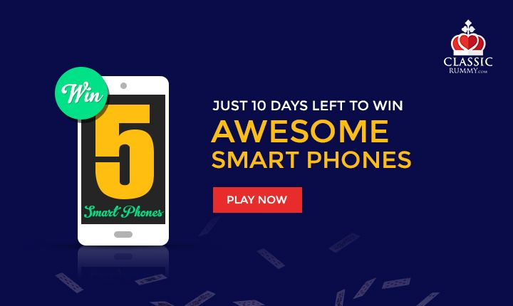 Just 10 Days Left To Win Awesome Smart Phones Only At Classic Rummy!  #rummy #online #mobile #ios #android #game #indian