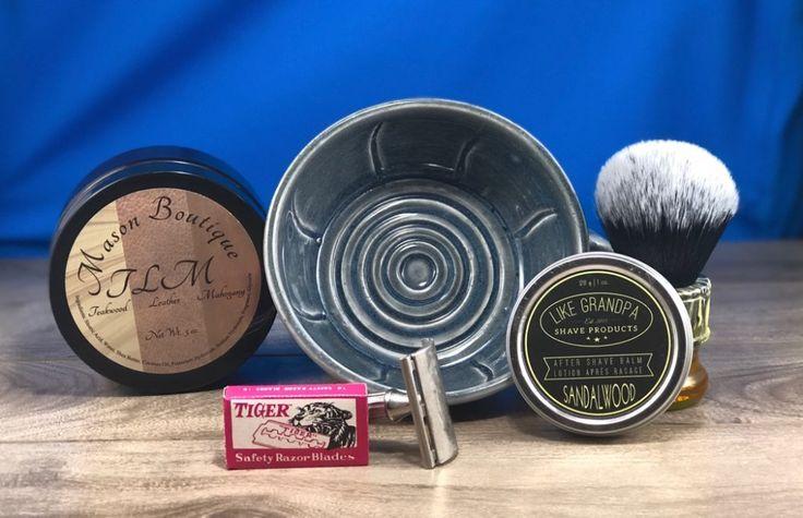 #SOTD #wetshaving #shavelikegrandpa Razor: Gillette Tech Blade: Tiger Red Blades Brush: Yaqi Synthetic Soap: Mason Boutique Teakwood Leather Mahogony Aftershave: Like Grandpa Balm Other: Thirsty Badger lather bowl