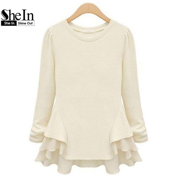 SheIn New Autumn Hot Top Women's Beige Long Sleeve Contrast Chiffon Ruffles Tees Fashion Casual Brief Street Fashionable T-Shirt