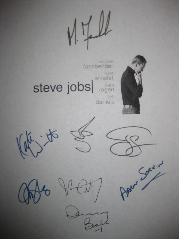 Steve Jobs Signed Film Script X8 Michael Fassbender Kate Winslet Seth Rogen rpnt - FASSBENDER, Film, Jobs, Kate, MICHAEL, Rogen, Rpnt, Script, Seth, Signed, Steve, Winslet