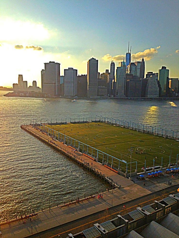 Amazing soccer fields on Hudson River at sunset