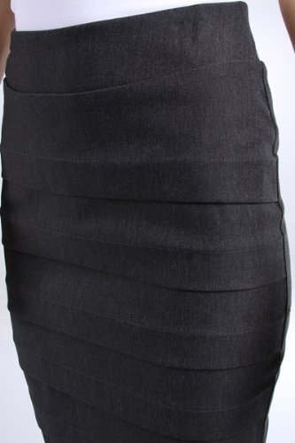 Knee Length Tiered Sleek Stretch Skirt - http://cheune.com/a/39968115324154497