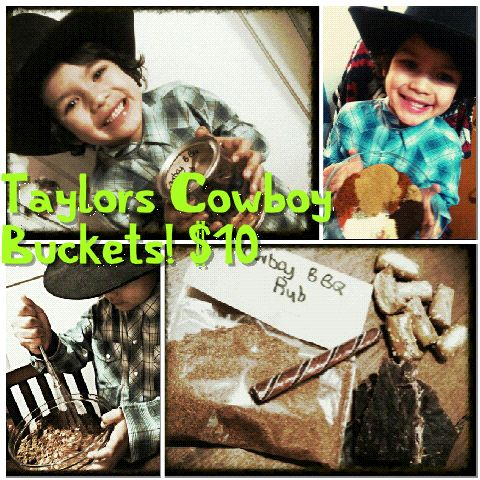 Kolets Sunflower Express- Taylors Cowboy Bucket for the Cowboy (or girl) in your life! Includes Taylors special made Cowboy BBQ Rub, Root Beer Sticks, Beef Jerky, and Sourdough Pretzels! All in a bucket!