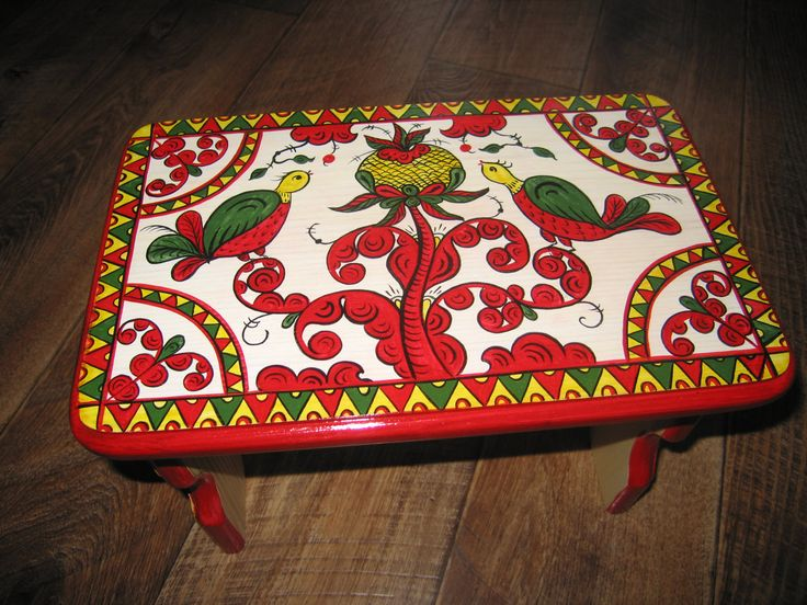 Wooden painted bench, wooden seat, foot rest, for children, Russian fine art by RussianStore on Etsy