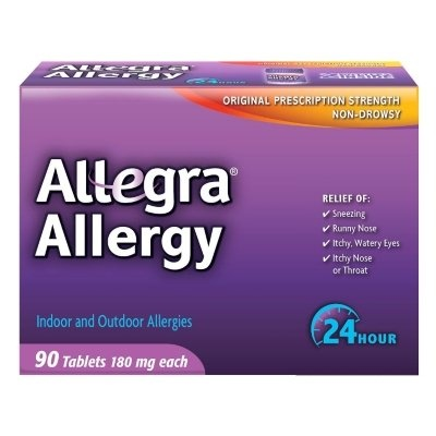 Allegra Allergy - 45 Tablets (180 mg each) 2 PACK = 90 TABLETS! - Try Allegra for relief of your toughest allergy symptoms, without drowsiness. Same prescription strength now available without a prescription! - Allergy Medicine - Health