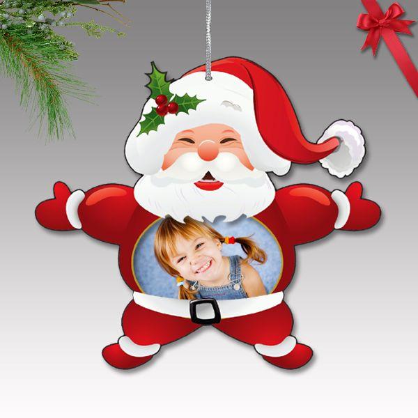 Fényképes karácsonyfa dísz - műanyag, Mikulás