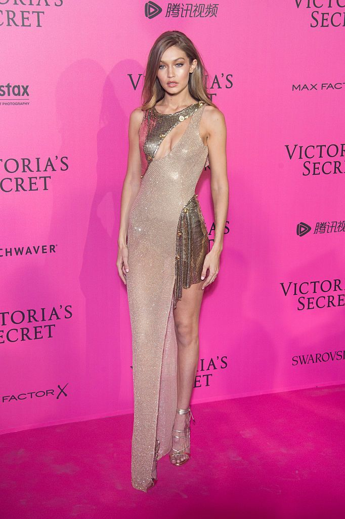 Gigi Hadid is flawless in a custom-made Atelier Versace gown at the after party for the Victoria's Secret Fashion Show. #VersaceCelebrities
