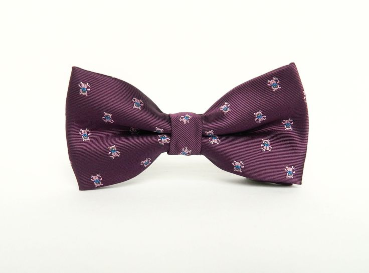 Royal purple patterned silk bow tie Pre-tied bow tie wedding purple bow tie groomsmen uk by TheStyleHubTrends on Etsy