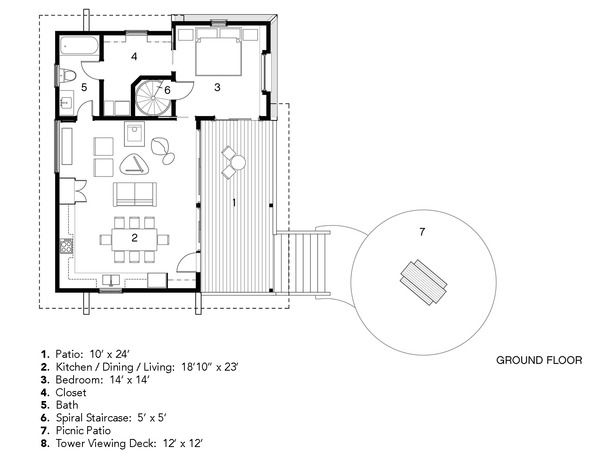 Cabin Style House Plan   1 Beds 1 Baths 785 Sq/Ft Plan #931