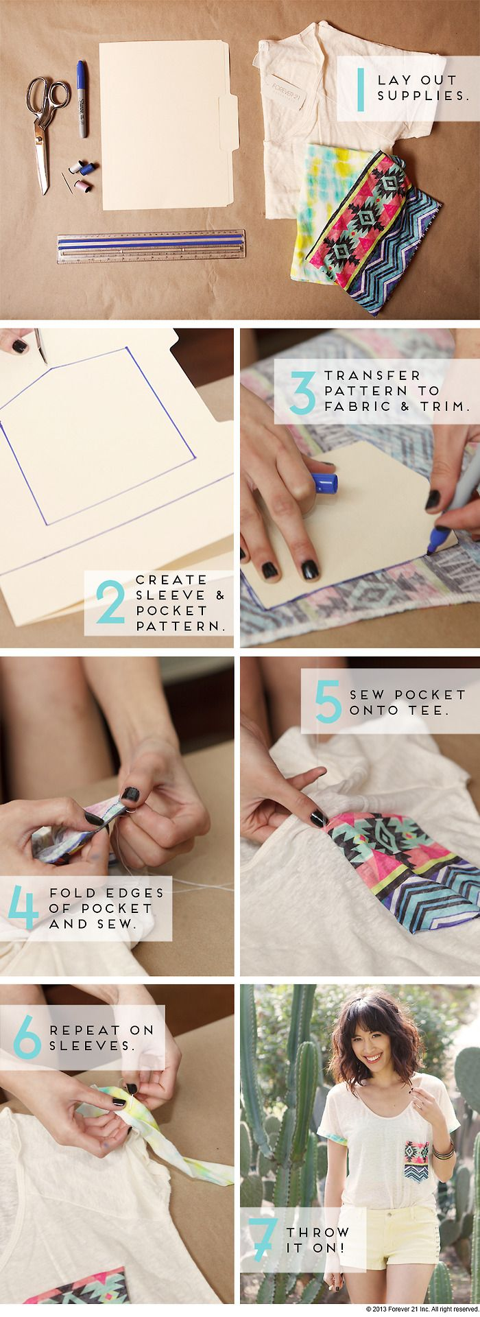 get-crafty:  DIY Pocket Tee There are a lot of tutorials for pocket tees, but I think this video tutorial by Forever 21 is my favorite that I've seen. It does require sewing, but you don't need to know how to use a sewing machine. I also love how she added an extra touch by sewing strips of fabric on the sleeves as well.