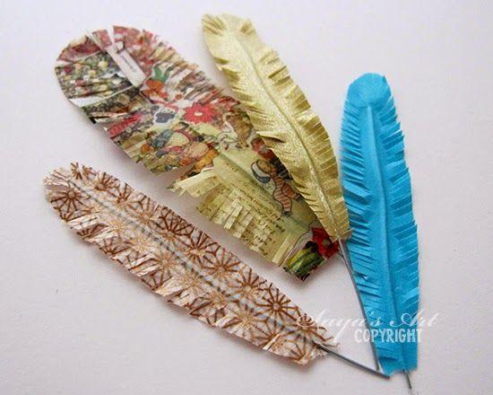 Andrine og Marens Landhandleri - Blog: DIY - Washi tape feathers - tutorial here: http://www.andrinemaren.blogspot.no/2014/10/diy-washi-tape-feathers.html