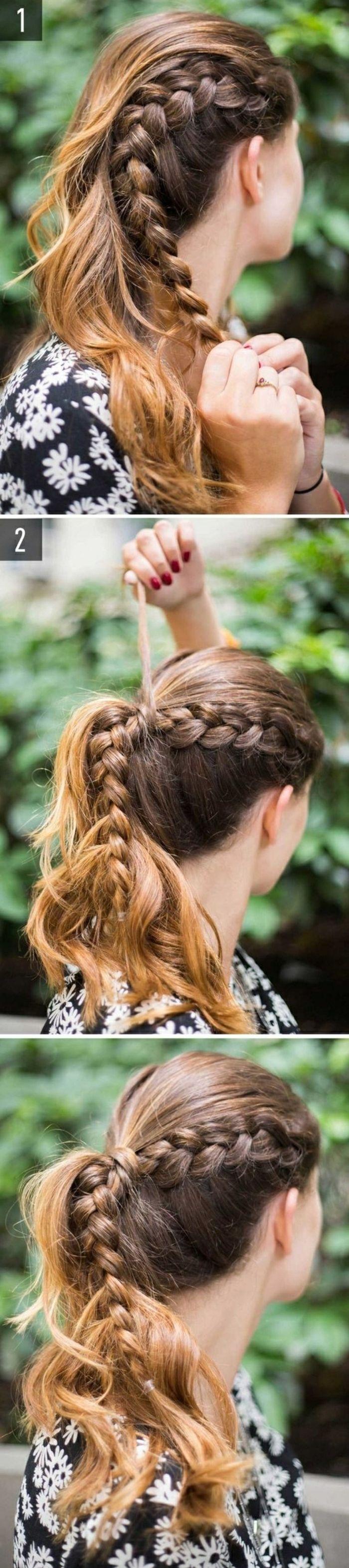 femme viking, cheveux brunes avec mèches cuivrées, tresse sur le côté, manucure rouge