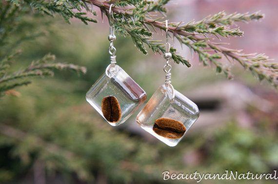 Real сoffee beans earrings in a resin. OOAK by BeautyandNatural