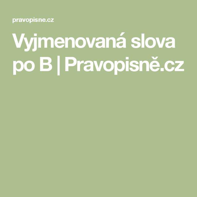 Vyjmenovaná slova po B | Pravopisně.cz