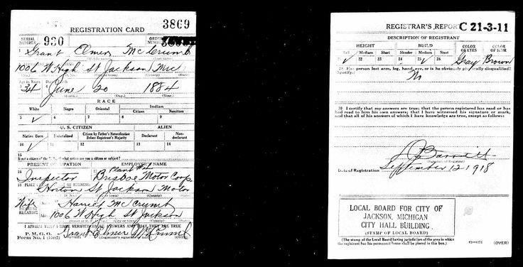 Grant elmer mccrumb discovered in us world war i draft