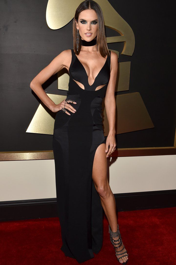 Alessandra Ambrosio Slays the Grammys Red Carpet in Versace