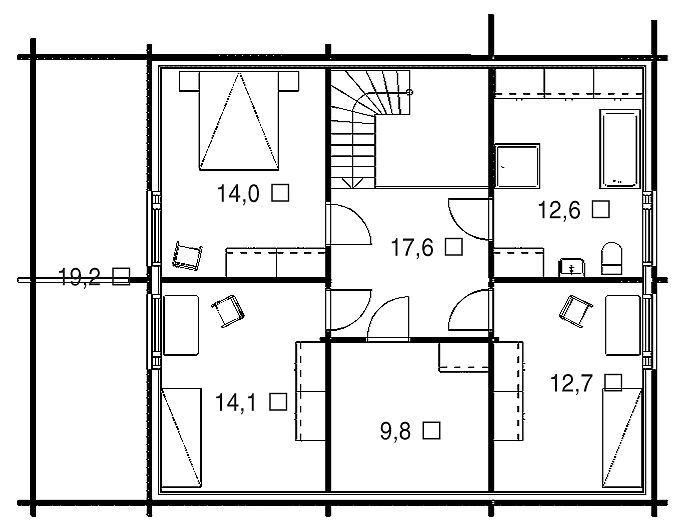 План мансарды дома из профилированного клееного бруса из кедра и лиственницы