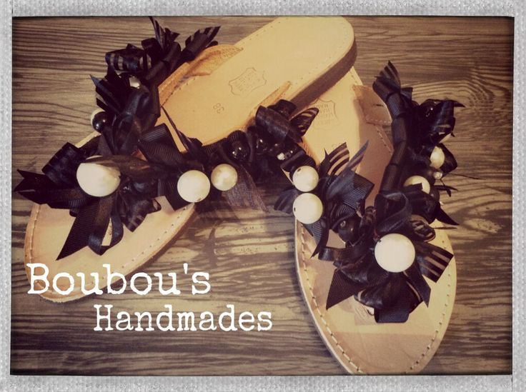 Handmade leather sandals! Black and white....always in fashion!!! DIY