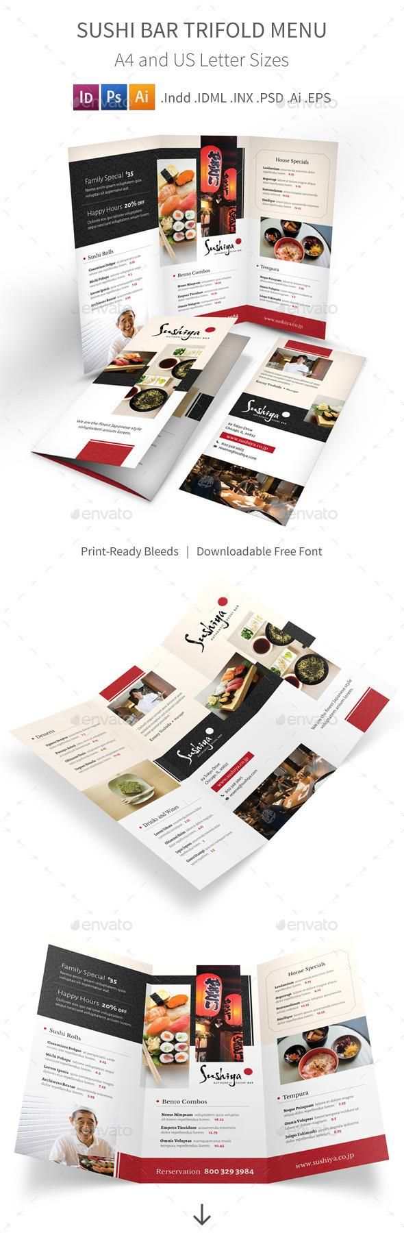 Sushi Bar Trifold Menu