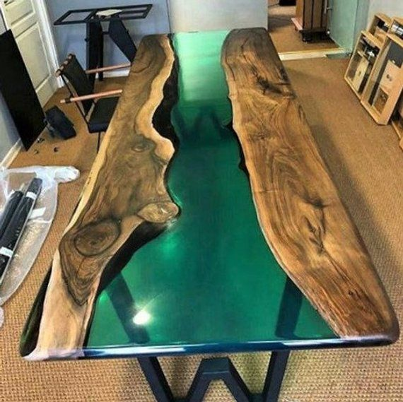 New Form Epoxy Resin Table New Design Live Edge Epoxy River Table Slab Single Table Resin Coffe Table Custom Special Firnuture Epoxy Resin Table Wood Table Design Resin Furniture