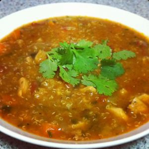 Slow cooked Chicken & Quinoa Soup   Savoury October 21, 2014 Share 6 Full-screen Ingredients 6 x organic free-range chicken thighs chopped into 2cm cubes ½ cup white Quinoa – soaked for 2 hours and rinsed 1 brown onion diced 1 large zucchini diced 1 carrot diced 1 leek finely chopped 2 large kale leaves finely …