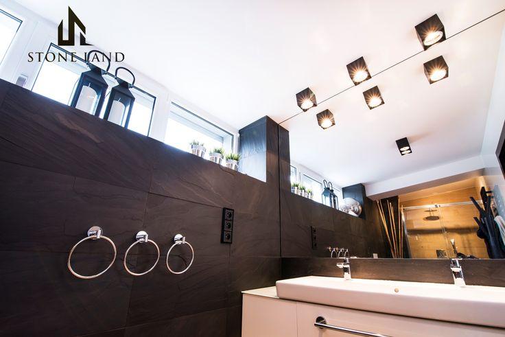 łupek kamień naturalny Black łazienka bathroom stone slate