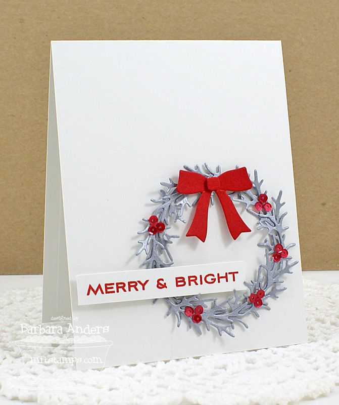 Card Christmas   MFT Winter Wreath: Merry And Bright.