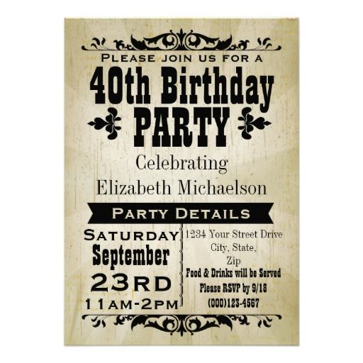 The 17 best 40th birthday party ideas images on pinterest 40 rustic vintage 40th birthday party invitation filmwisefo