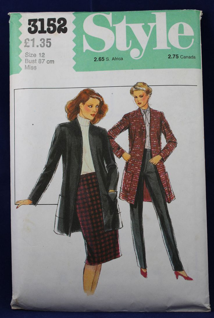 Cardigan Jacket, Skirt and Trouser Pattern in Size 12 - Style 3152 by TheVintageSewingB on Etsy