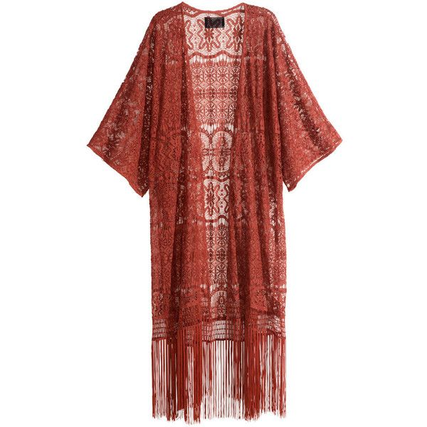 H&M Fringed lace kimono ($31) ❤ liked on Polyvore featuring intimates, robes, cardigans, kimono, outerwear, jackets, tops, rust red and h&m