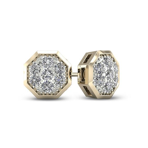 Men S 1 20 Ct T W Geometric Composite Diamond Stud Earrings In 10k Gold In 2020 Diamond Studs Fashion Earrings Stud Earrings