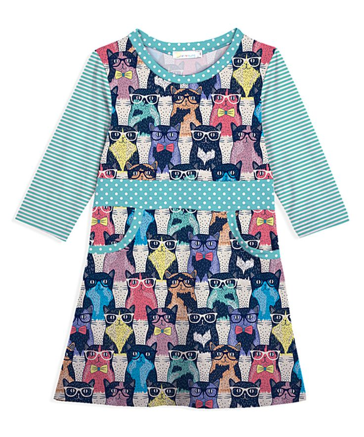 Take a look at this Black & Teal Glasses Cat Pocket Dress - Toddler & Girls today!