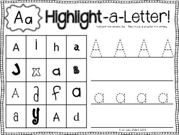 Highlight-A-Letter! {Letter Identification} - Babbling Abby - Kindergarten students can have a wonderful time with this activity as well as learning the difference between upper and lower case letters.