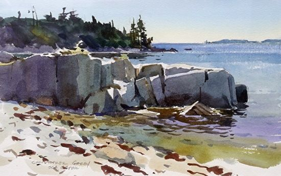 "Christopher Gorey, Smiley Cove Rocks Watercolor 10"" x 14"""