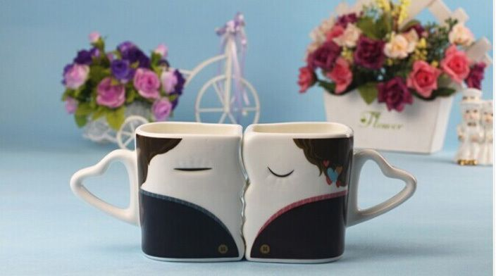 Lovers Kiss Valentine Cute Couple Mugs Will Change Color Changing Cups #Affiliate