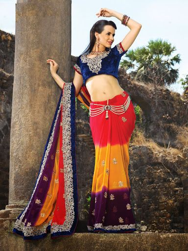Magnificient Eggplant, Gold Color & Red Embroidered Saree | StylishKart.com