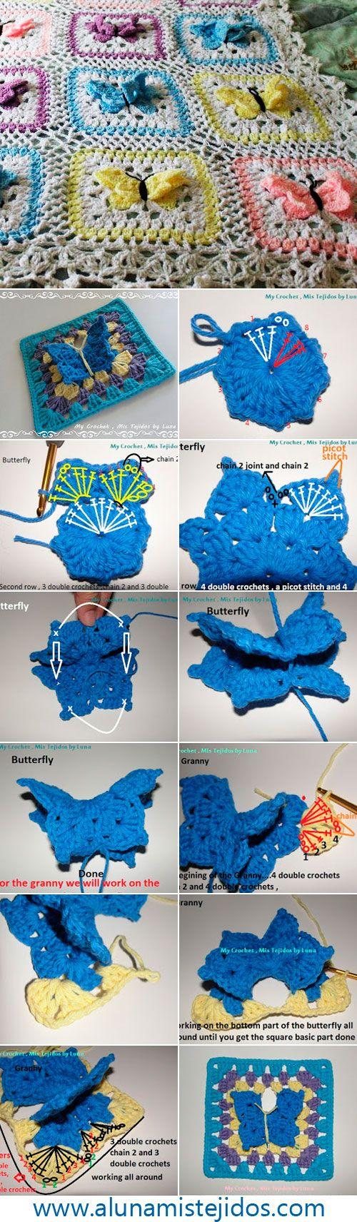 бабушкин квадрат с бабочкой
