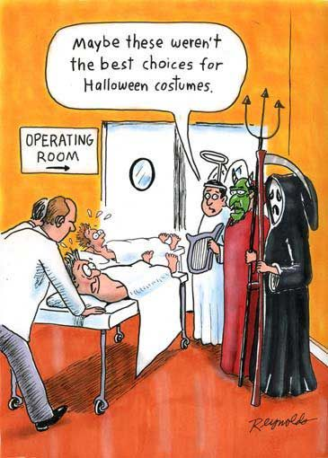 Maybe these weren't the best choices for Halloween costumes. Operating Room - Surgeon's humor.