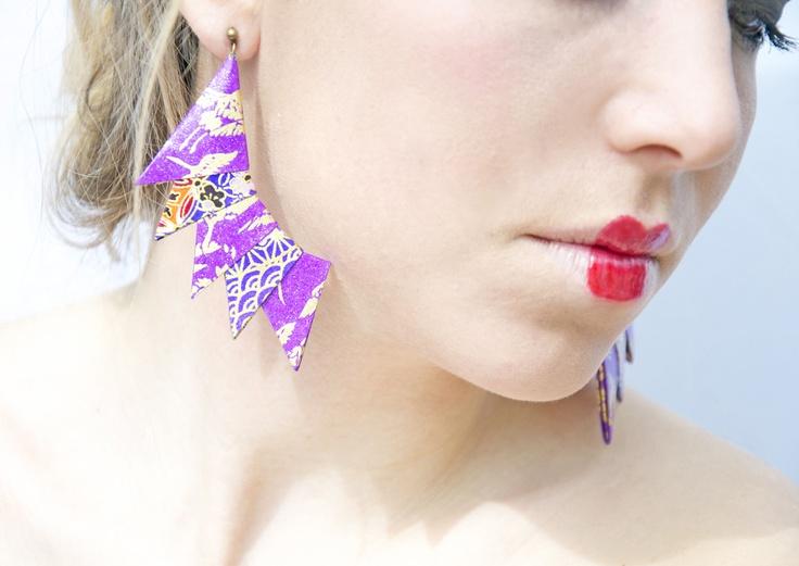 Orecchini Cresta | origami paper earrings by Minikami