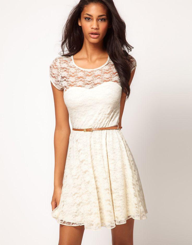 ASOS Lace Skater Dress with Belt