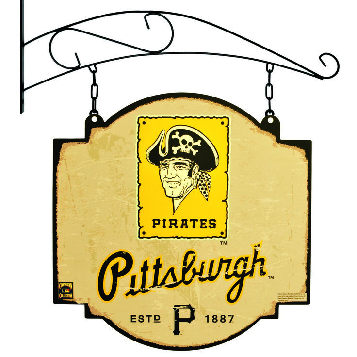 "This 16"" x 16"" metal sign is printed on both sides with Pittsburgh Pirates logos and has been made to look like an old fashioned tavern sign. It comes with a bracket that allows the sign to be hung, or you can ignore the bracket and affix the sign directly to a wall."
