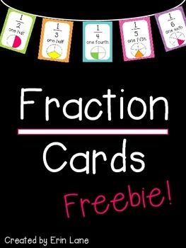 Freebie! These colorful fraction cards are a color display during a fraction unit, or all year long.